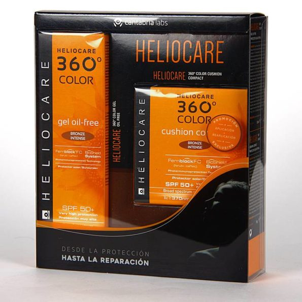 Pack Heliocare 360 gel oil free bronze intense 50ml + cushion compact bronze intense 15g 436082