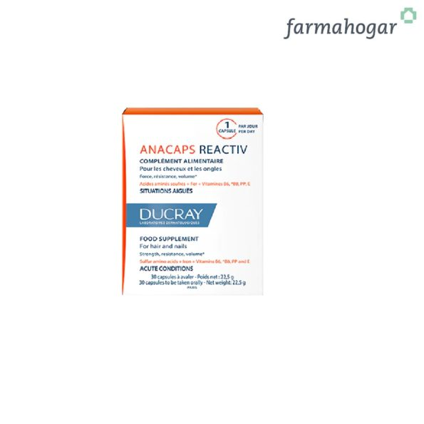 Ducray – Anacaps Reactive Cabello, Cuero Cabelludo y Uñas 30 Caps 383687